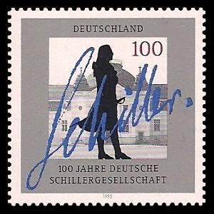 100 Pf Briefmarke: 100 Jahre Deutsche Schillergesellschaft
