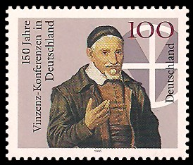 100 Pf Briefmarke: 150 Jahre Vinzenz-Konferenzen in Deutschland