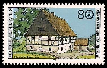 80 + 40 Pf Briefmarke: Wohlfahrtsmarke 1995, regionale Bauernhäuser in Deutschland