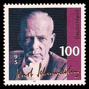 100 Pf Briefmarke: 100. Geburtstag Kurt Schumacher