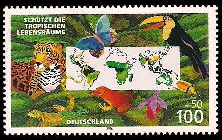 100 + 50 Pf Briefmarke: Schützt die tropischen Lebensräume