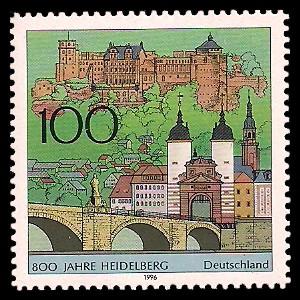 100 Pf Briefmarke: 800 Jahre Heidelberg