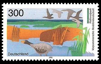 300 Pf Briefmarke: Nationalpark Vorpommersche Boddenlandschaft