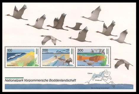 Briefmarke: Blockausgabe: Nationalpark Vorpommersche Boddenlandschaft