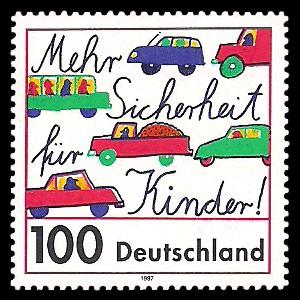 100 Pf Briefmarke: Mehr Sicherheit für Kinder im Straßenverkehr