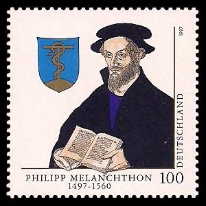 100 Pf Briefmarke: 500. Geburtstag Philipp Melanchthon
