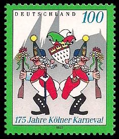 100 Pf Briefmarke: 175 Jahre Kölner Karneval