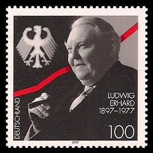 100 Pf Briefmarke: 100. Geburtstag Ludwig Erhard