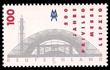 100 Pf Briefmarke: 500 Jahre Privileg Messe Leipzig