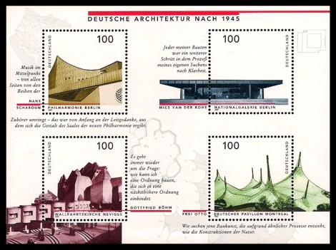 Briefmarke: Blockausgabe: Deutsche Architektur nach 1945