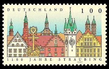 100 Pf Briefmarke: 1100 Jahre Straubing