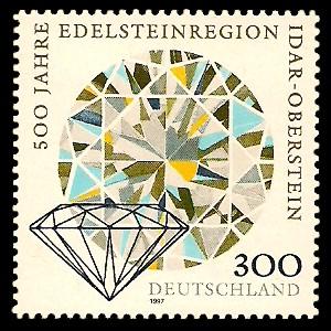 300 Pf Briefmarke: 500 Jahre Edelsteinregion Idar-Oberstein