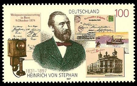 100 Pf Briefmarke: 100. Todestag Heinrich von Stephan