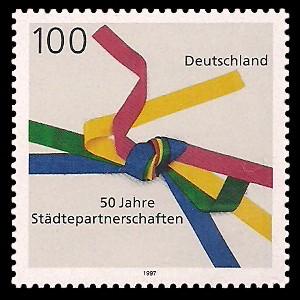 100 Pf Briefmarke: 50 Jahre Städtepartnerschaften