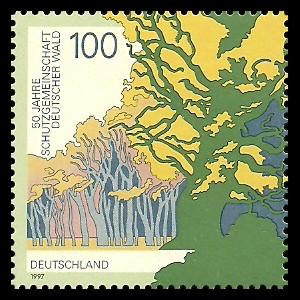 100 Pf Briefmarke: 50 Jahre Schutzgemeinschaft Deutscher Wald