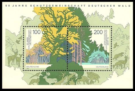Briefmarke: Blockausgabe: 50 Jahre Schutzgemeinschaft Deutscher Wald