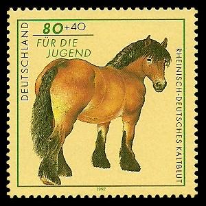 80 + 40 Pf Briefmarke: Für die Jugend 1997, Pferde