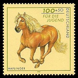 100 + 50 Pf Briefmarke: Für die Jugend 1997, Pferde