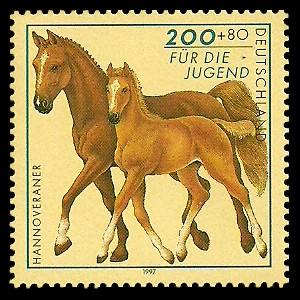 200 + 80 Pf Briefmarke: Für die Jugend 1997, Pferde