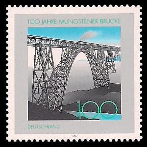 100 Pf Briefmarke: 100 Jahre Müngstener Brücke