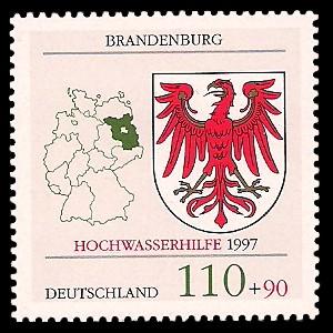 110 + 90 Pf Briefmarke: Hochwasserhilfe, Wappen der Bundesländer