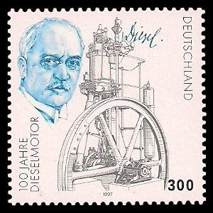 300 Pf Briefmarke: 100 Jahre Dieselmotor