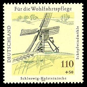 110 + 50 Pf Briefmarke: Wohlfahrtsmarke 1997, Mühlen
