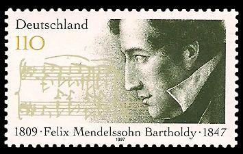 110 Pf Briefmarke: 150. Todestag Felix Mendelssohn Bartholdy
