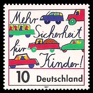 10 Pf Briefmarke: Mehr Sicherheit für Kinder im Straßenverkehr