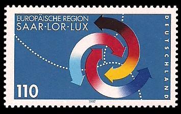 110 Pf Briefmarke: Europäische Region Saar-Lor-Lux