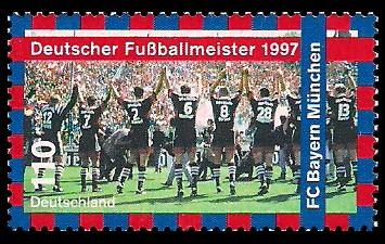 110 Pf Briefmarke: Deutscher Fußballmeister 1997