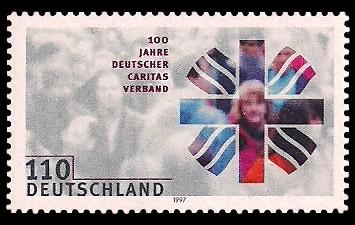 110 Pf Briefmarke: 100 Jahre Deutscher Caritasverband