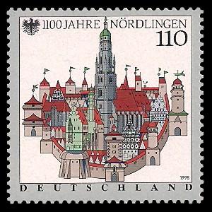 110 Pf Briefmarke: 1100 Jahre Nördlingen