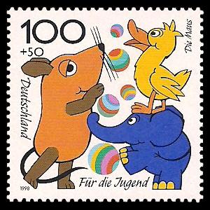 100 + 50 Pf Briefmarke: Für die Jugend 1998, Kinderfernsehen