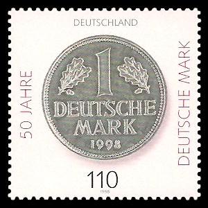 110 Pf Briefmarke: 50 Jahre Deutsche Mark