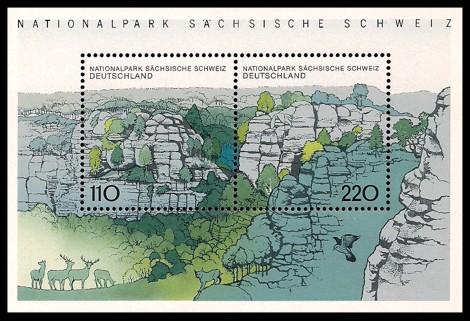 Briefmarke: Blockausgabe: Nationalpark Sächsische Schweiz