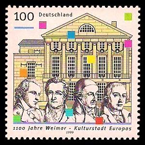 100 Pf Briefmarke: 1100 Jahre Weimar
