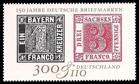 300 + 110 Pf Briefmarke: 150 Jahre Deutsche Briefmarken, IBRA '99