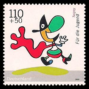 110 + 50 Pf Briefmarke: Für die Jugend 1999, Kinderfernsehen