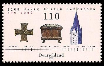 110 Pf Briefmarke: 1200 Jahre Bistum Paderborn