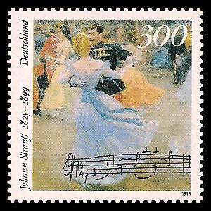 300 Pf Briefmarke: 100. Todestag Johann Strauß