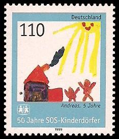 110 Pf Briefmarke: 50 Jahre SOS-Kinderdörfer