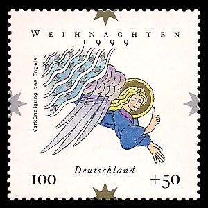 100 + 50 Pf Briefmarke: Weihnachtsmarke 1999