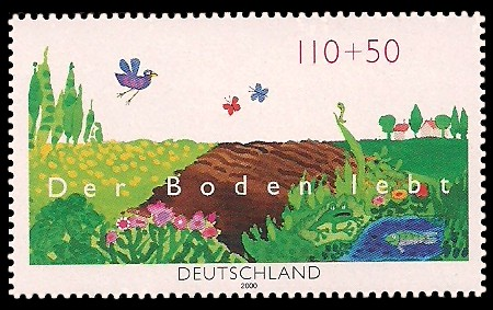 110 + 50 Pf Briefmarke: Der Boden lebt