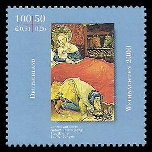 100 + 50 Pf / 0,51 + 0,26 € Briefmarke: Weihnachtsmarke 2000