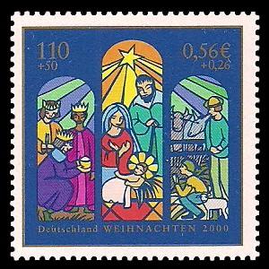110 + 50 Pf / 0,56 + 0,26 € Briefmarke: Weihnachtsmarke 2000