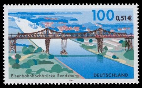 100 Pf / 0,51 € Briefmarke: Eisenbahnhochbrücke Rendsburg