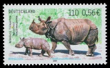 110 Pf / 0,56 € Briefmarke: Bedrohte Tierarten, Indisches Panzernashorn