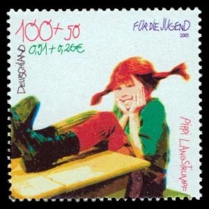 100 + 50 Pf / 0,51 + 0,26 € Briefmarke: Für die Jugend, Pippi Langstrumpf