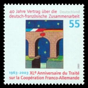 55 Ct Briefmarke: 40 Jahre Vertrag über die deutsch-französische Zusammenarbeit